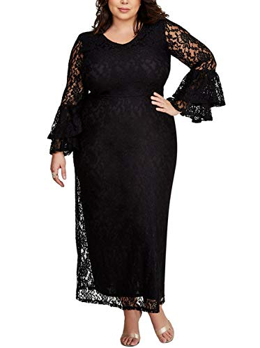Diukia Women's Plus Size Elegant Lace Long Flare Bell Sleeve Formal Evening Party Bodycon Maxi Dress Black