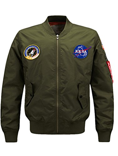 Vogstyle Men's Hip Hop Jacket Air Sky Flight Patch Embroidery Slim Fit Bomber Jackets (Check Air Flight)