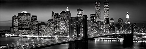 New York City Manhattan Night Decorative Travel Photography Art Print Poster 12 by36 (City Skyline Poster)