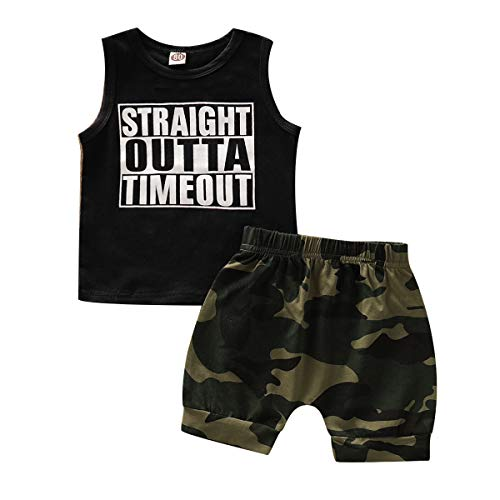 AR-LLOYD Baby Boys Shorts Sets Infant Boy Straight Outta Timeout Vest + Camouflage Shorts Outfit Set (B-Black, 2-3years)
