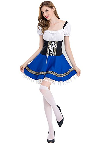 ZEVONDA Women's Elegant Oktoberfest Parties Halloween Costume Bartender Maid Cosplay Outfit Fancy Dress, (Bartender Halloween Outfits)