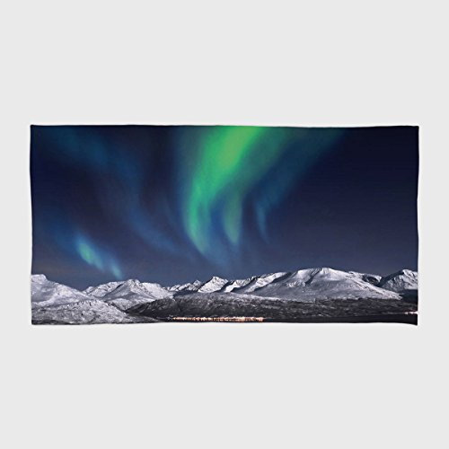 iPrint Cotton Microfiber Hotel SPA Beach Pool Bath Hand Towel,Sky Decor,Northern Lights Aurora over Fjords Mountain at Night Norway Solar Image Art,Green Dark Blue,for Kids, Teens, and Adults by iPrint