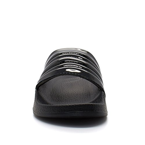 Womens Patent Rubber Sliders Sandals Ladies Slip On Mule Summer Flip Flops Size Black JF6n4N33GT