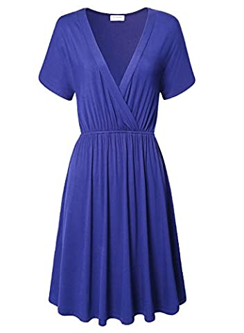 Tunic Dress for Women,Bulotus Summer Wear Short Sleeve Women Casual Blue Dress (M, Blue) (Midi Cotton Dress)