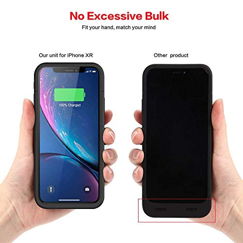Battery Case for iPhone XR, Feob Upgraded 5500mAh Portable Charging Case Extended Battery Pack for iPhone XR Charger Case (6.1 inch)- Black