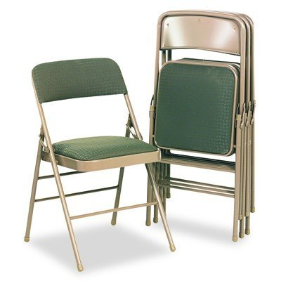 Cosco Fabric Padded Seat - Cosco 36885CVT4 Deluxe Fabric Padded Seat & Back Folding Chairs, Cavallaro Taupe, 4/Carton