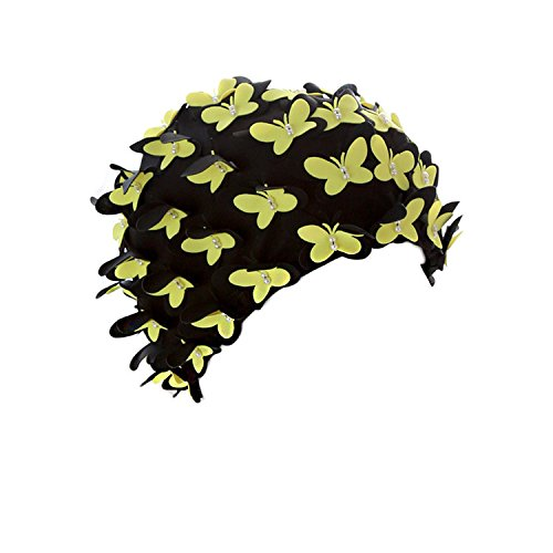 (Medifier Vintage Swim cap Floral Petal Retro Style Bathing Caps for Women Yellow)