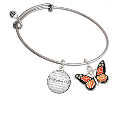 fly with 6 AB Crystals - Bible Verse Philippians 4:13 Glass Dome Bangle Bracelet ()