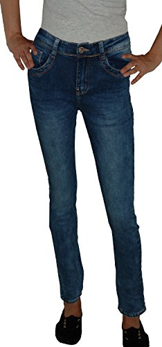 Blau outwashed used Missrj Straight Donna Jeans qwpyvXt