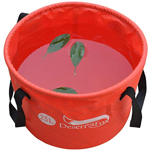 DESERT & FOX Outdoor Collapsible Bucket, Portable & Lightweight Folding Water Container, 4.2Gal/6.6Gal(16L/25L) Durable Outdoor Camping, Picnic, Fishing, Washing Tools