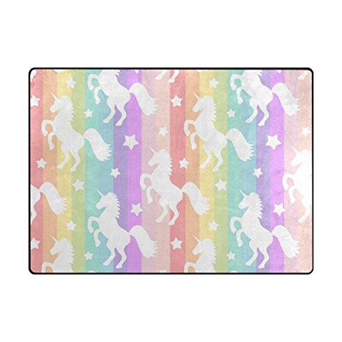 YZGO White Unicorns Stars on Rainbow Colorful Rug, Kids Children Area Rugs Non-Slip Floor Mat Resting Area Doormats (Kids Rug Rainbow)