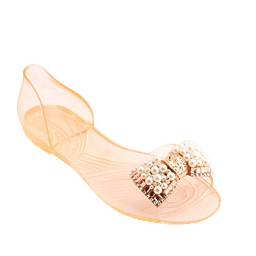 Picture of Omgard Women Sandals Summer Ribbon Bow Peep Toe Jelly Shoes Beach Sandal Flat Shoes for Woman