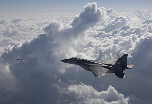 Posterazzi An F-15 Eagle from the 114th Fighter Squadron fires an AIM-9X missile during a Weapons Systems Evaluation Program at Tyndall Air Force Base Florida Poster Print (17 x 11)