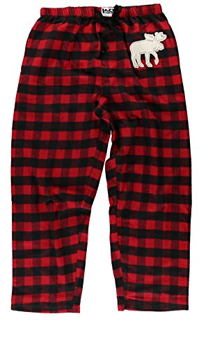 LazyOne Unisex Moose Animal Pajamas Men's Women's PJ Pant Shirt Adjustable Drawstring Pant Fly and Pockets Christmas (X-Large, Moose Plaid Pants)