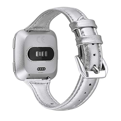 bayite Bands Compatible Fitbit Versa, Slim Genuine Leather Band Replacement Accessories Strap Women (Silver, 5.3 - 7.8)