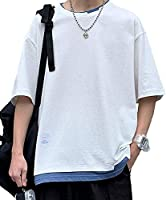 夏 Tシャツ メンズ Tシャツ 半袖 五分袖 ファッション カジュアル カットソー 重ね着風 吸汗速乾 汗染み防止 快適なカットソー tシャツ 夏服 夏季対応 OUKEY 2021新品