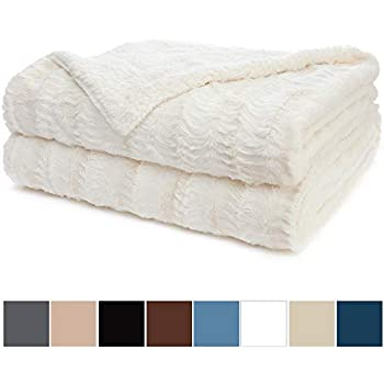 """Luxury Bedding White Roses Fluffy and Cuddly Faux Fur Throw Blanket Queen 90x90/"""""""
