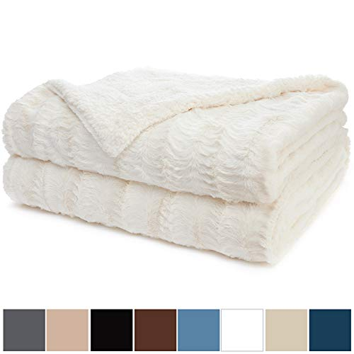 The Connecticut Home Company Original Luxury Faux Fur Bed Throw Blanket (King Size 108x90) Soft, Large Plush Reversible Blankets, Warm & Hypoallergenic Washable Throws for Beds, Microfiber (Ivory)