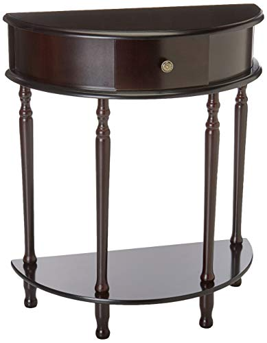 Frenchi Home Furnishing End Table/Side Table, Espresso Finish (Half Moon Hall Table)
