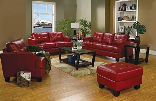 Samuel Contemporary Red Three-Piece Living Room Set