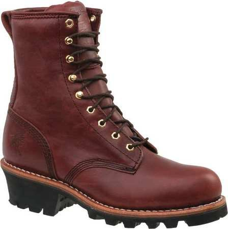 Work Boots, Mens, 8-1/2, W, Lace Up, Red, PR