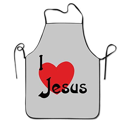 KITC I Love Jesus Christian White Funny Unisex Barbecue Apron With Black Border