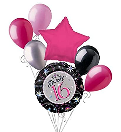 7 Pc Prismatic Sweet 16 Happy Birthday Balloon Bouquet 16th Sixteenth Hot Pink