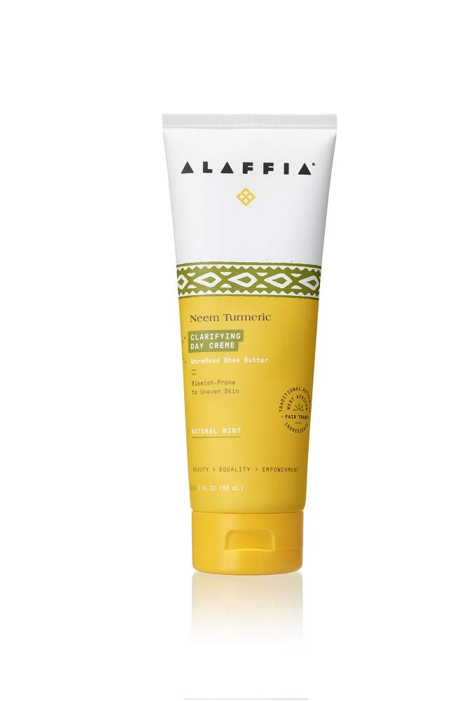 Alaffia Neem Tumeric Day Cream, Replenishing Support to Hydrate, Balance, and Protect Skin with Shea Butter, Marshmallow, Yarrow, and Tea Tree, Fair Trade, Balancing Neem, 3 Ounces