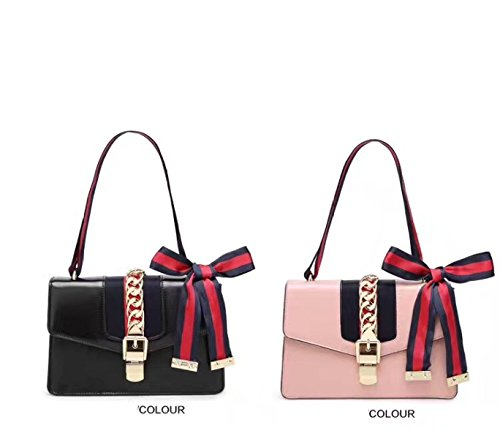 Pink Satin Shoulder Crossbody Gshga Women's Leather Bag Fashion red Single Handbags Genuine wPq6w8Y