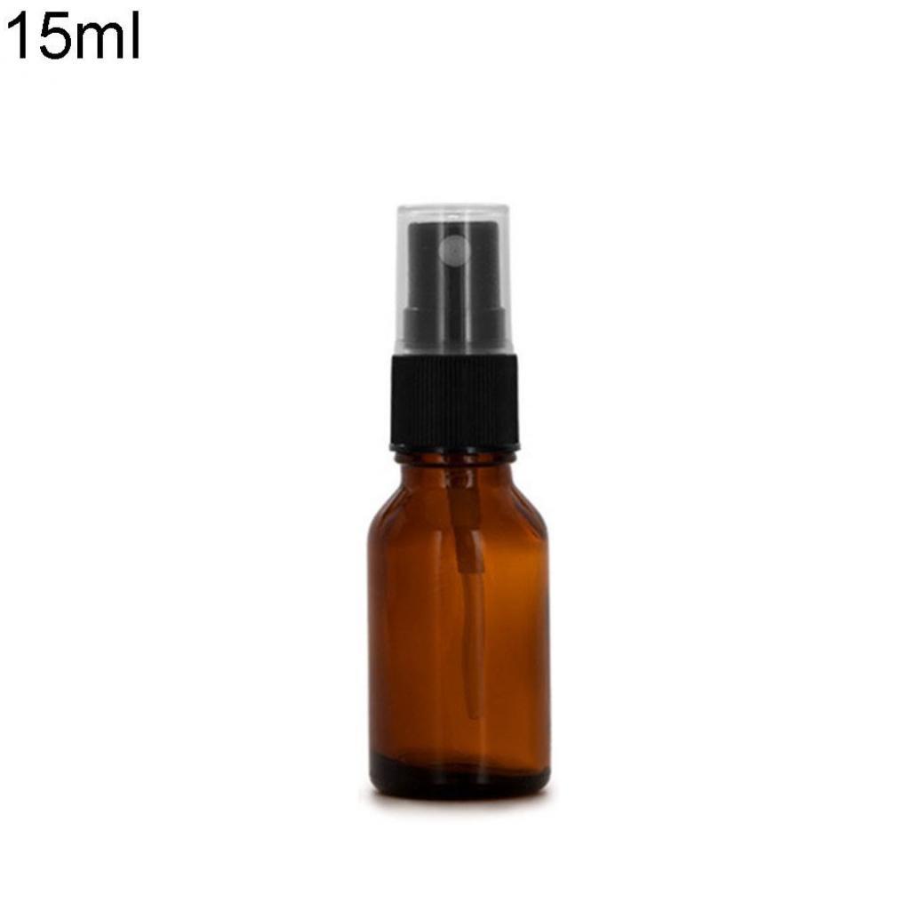 Geshiglobal, contenitore di vetro ambrato, per oli essenziali, con spray, vuoto, da 10/15/20/30/50/100 ml
