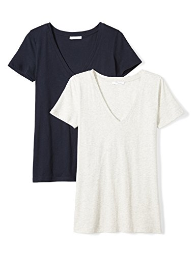 Daily Ritual Women's Tissue Cotton Short-Sleeve V-Neck T-Shirt, 2-Pack, L, Heather (Ladies Tissue)