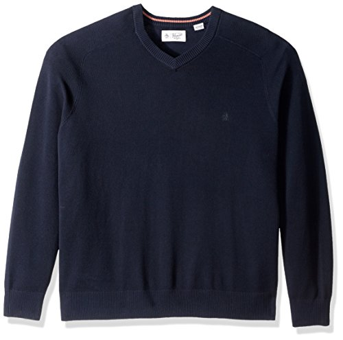 Original Penguin Men's Big Honeycomb V-Neck Sweater, Dark Sapphire, 1 XL-Extra Large/Tall Big And Tall Cotton Sweater