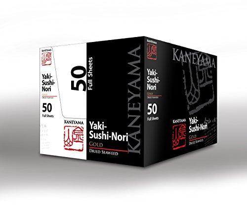 Kaneyama Yaki Sushi Nori / Dried Seaweed (Vacuum-packed/re-sealable), Premium Gold Grade (Full Size 50 Sheets 10 Packs) by Kaneyama (Image #2)