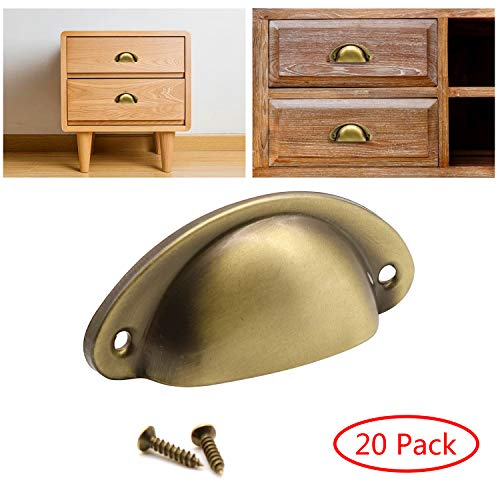 20-Pack Cabinet Handle Bronze Brushed Kitchen Cabinet Pulls-2.5 inch (64mm) Hole Centers,Drawer Cabinet Door Handle Furniture Hardware Cupboard Antique Shell Pull Handles