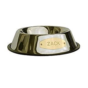 LuckyPet Stainless Steel Pet Bowl with Engraved Brass Plaque & Non-Skid Base, Size Large