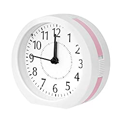 Alarm Clock,Ultra Small Snooze Loud Wake Up Alarm Clocks with Night Light and Music Alarm for Bedroom Office Desk by Kaimao(Pink)