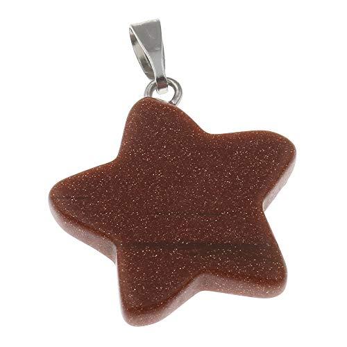 Necklace Goldstone Handmade - New Natural Gem Stone Pendants | Crystal Quartz Amethyst Opal Moonstone Star Stone Pendants | for Necklaces Pendants Jewelry (Goldstone)