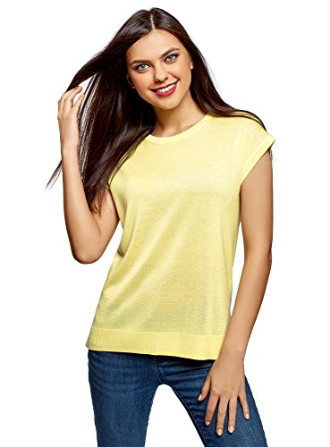 Price comparison product image oodji Ultra Women's Relaxed-Fit Crew Neck Pullover, Yellow, US 2 / EU 36 / XS