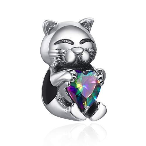 SILVERCUTE Antique Silver Charm for Pandora Bracelet 925 Sterling Silver Vintage Enamel Plated Cute Animal Hug Rainbow CZ Love Heart (Cat)