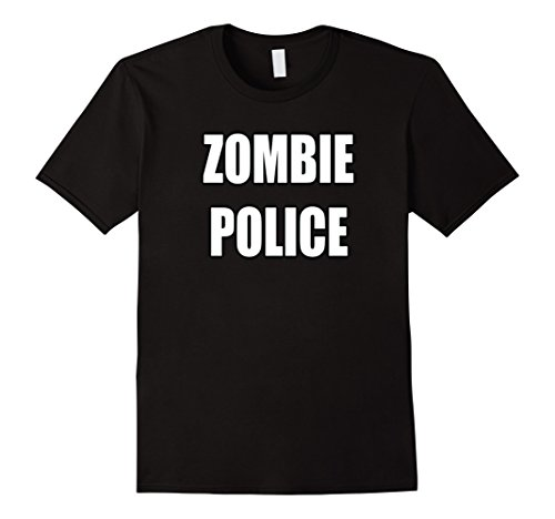 Mens Zombie Police Shirt Apocalyptic Costume Party Halloween 3XL Black