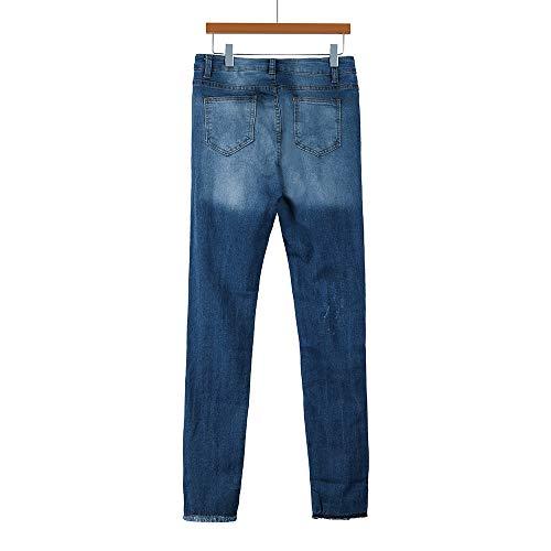 Femmes Bleu Denim Taille Jeans Mode Femme Sexy Stretch Hole conqueror Slim Pantalon Crayon Haute Yqxn5w6n