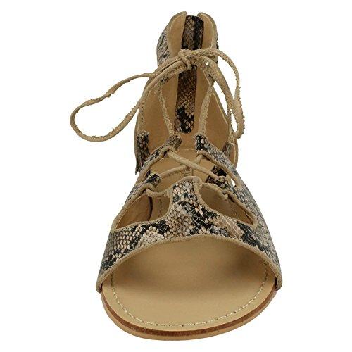 Spot On Ladies Snake Print Flat Sandals Natural (Beige) mxlyOy