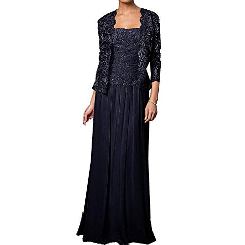 Mother of The Bride Dress Long Formal Gowns with Jacket Dark Navy 26W