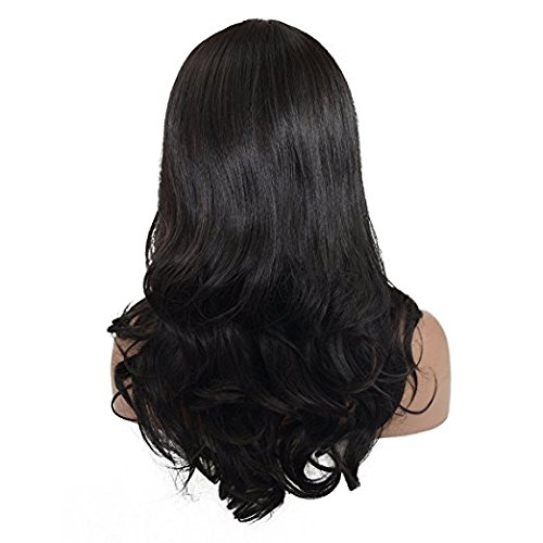 LLwear Synthetic Lace Front Wigs, Black Body Wave Natural Hair Wig and Machine Made base for Black Women (18 inches)