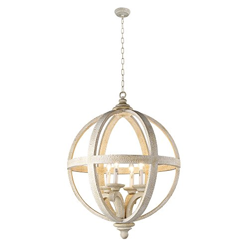 (Y-Decor LZ3225-4S Hercules 4 Light Chandelier in Wooden Globe Frame and Neutral Finish)
