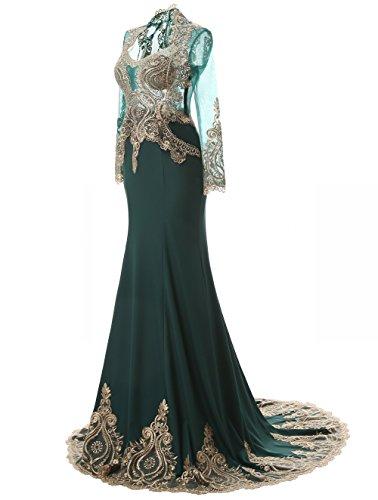 K Mermaid mit Blau Langarm Strass Abendkleider Neck nig Schal High Navy der Liebe rpYqrwBa