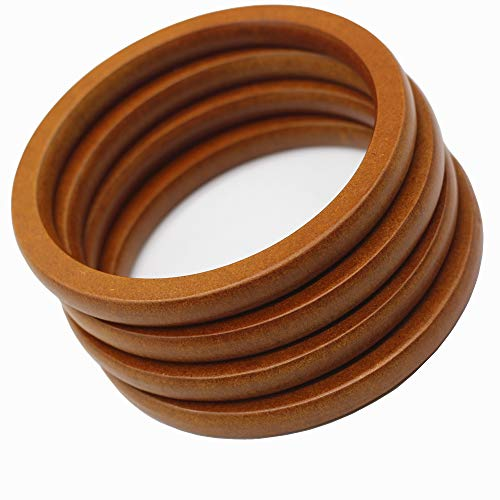 Model Worker 4PCS Wooden Round Shaped Handles Replacement for Handmade Bag Handbags Purse Handles (Brown)