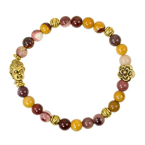 Red Creek Jasper Beads with Gold Plated Buddha Bead - Stretch Bracelet