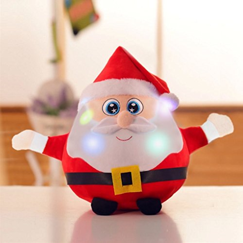 [Christmas Musical Toy Gift, 8.6''Santa Claus Doll Singing Toy Soft Plush Interactive Puppet Toy Shiny Light On Funny Puppet Toy for Children Baby Kids, Holiday Seasonal Toy] (Doll On A Music Box Costume)