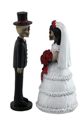 Day of the Dead Skeleton Wedding Couple Decorative Figurine 5'' Tall | Bride and Groom Mini Statue Wedding Cake Topper by DWK (Image #1)